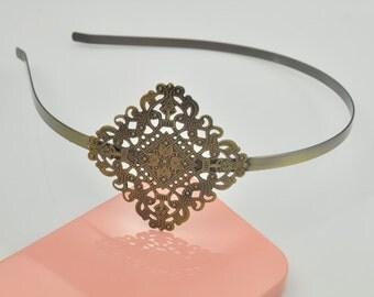 8PC 40mm Square Headband Antique Bronze Lovely Can stick flowers / gemstone Headband.