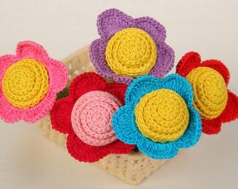 Crochet baby rattle Amigurumi Crochet Flower Rattle Eco friendly Rattle Baby Shower Gift