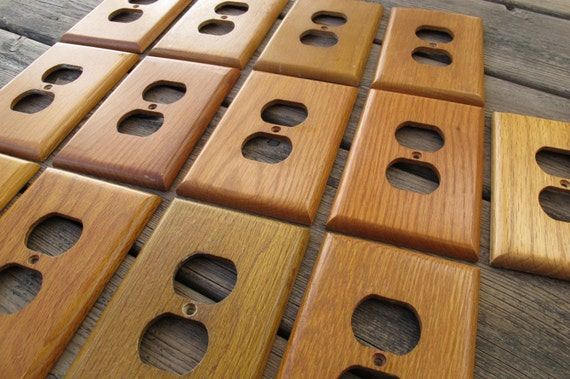 Atron solid oak outlet cover plate