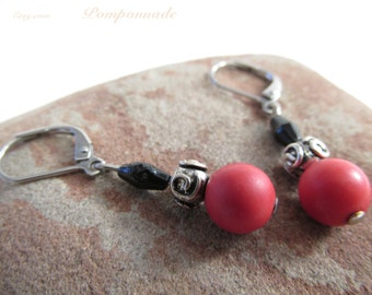 2908 - Earrings Pearl Red and Black Beads