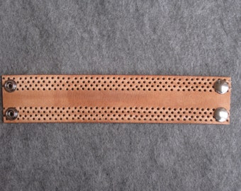 Tan Perforated Leather Wristband