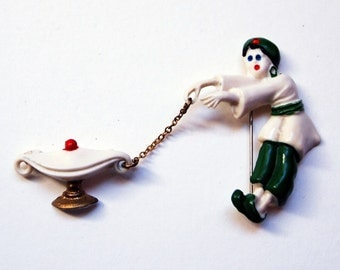 Vintage Painted Celluloid Aladdin & Lamp Pin 6346