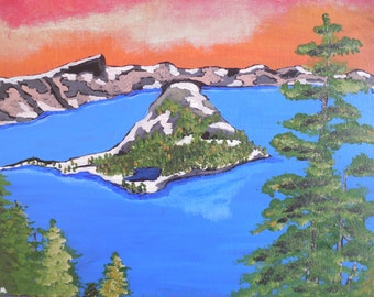 """Crater Lake, OR (11"""" x 14"""" Original Acrylic Painting)"""