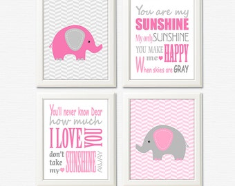 Grey and pink elephant nursery art print - 5x7 UNFRAMED - baby girl wall art, typography, you are my sunshine, bright pink, light pink