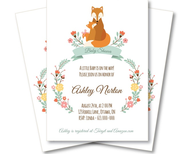 Fox Baby Shower Invitation / Customized Printable  - Woodland mother and baby fox
