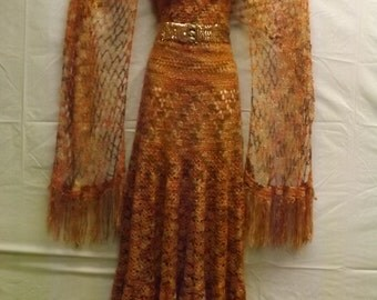hand crocheted evening gown