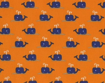 Dear Stella Orange with Navy Whales Fabric