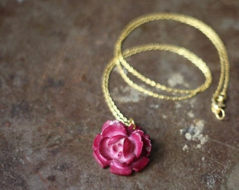 Vintage Celluloid Rose Pendant Necklace