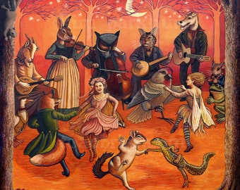 Forest Frolic Signed Print 12 x 12 - Fairies, Goat, Cat, Owl, Rabbit Musicians