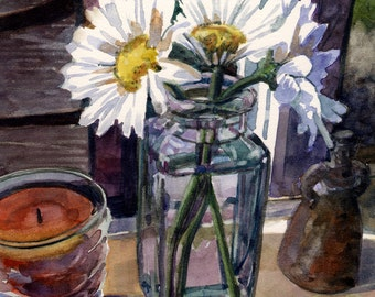 Print Matted to 11x14 Watercolor Kitchen Window Sill Daisies Flowers Bell Candle Still Life DelPesco