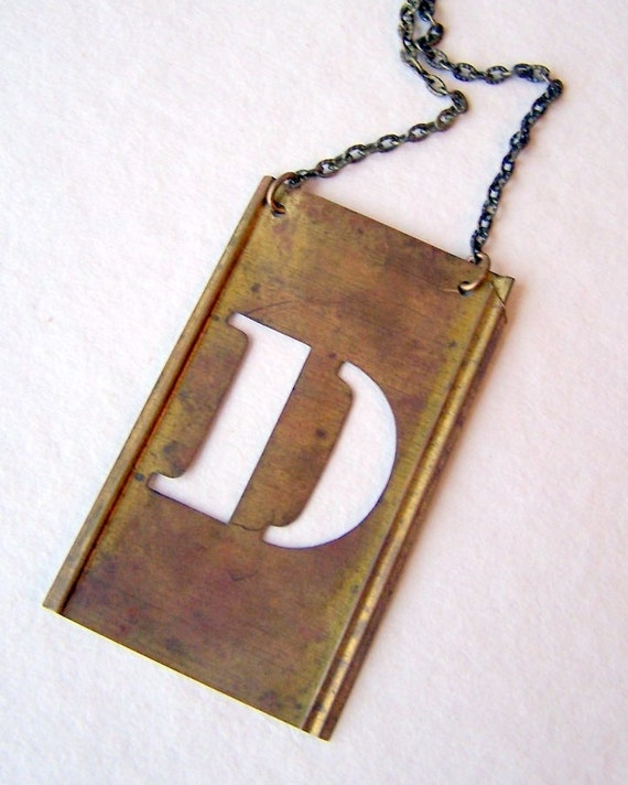 Personalized Brass Stencil Necklace, vintage stencil, letter, D, initial necklace, other letters and numbers available