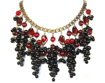 GRAPES OF WRATH Couture Statement Necklace by Nouveau Motley
