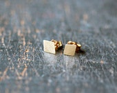 14k Gold Diamond Earrings, Diamond Shape Earrings, Geometric Studs, SOLID Yellow Gold, Modern Gold Posts, Recycled Gold, Handmade Jewelry