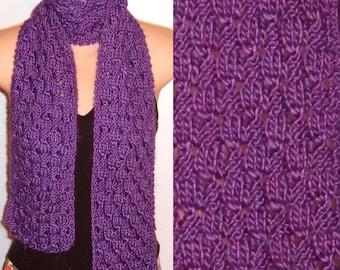 Hand Knit Scarf Lace Silk Wool Purple