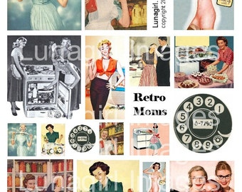 RETRO MOMS 1950s housewives digital collage sheet vintage images kitsch women housework Mid-Century advertising art kitchen Fifties DOWNLOAD