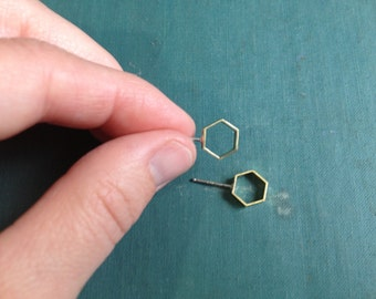 Geometric Brass | Post Earrings | Hexagonal | Minimal | Modern Earrings | Brass Earrings | Hexagon