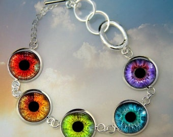 Rainbow Cat's Eye Braclet - Toggle Bracelet in Silver