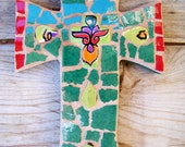 Mosaic Cross Tile Religious in Greens
