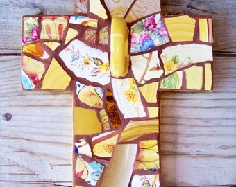 Mosaic Cross Religious in Yellows