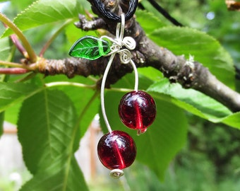 Cherry Pendant- Sterling Silver Wire Cherry Necklace, Glass Beads, Cherries, Jewelry, Mother's Day Gift for Her, Women