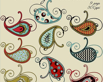 Paisley Patterns, 9 PNG Files, Paisley Graphics, Paisley Clip Art Set, Beautiful Paisley Clipart Kit, Instant Download, Clip Art Kits