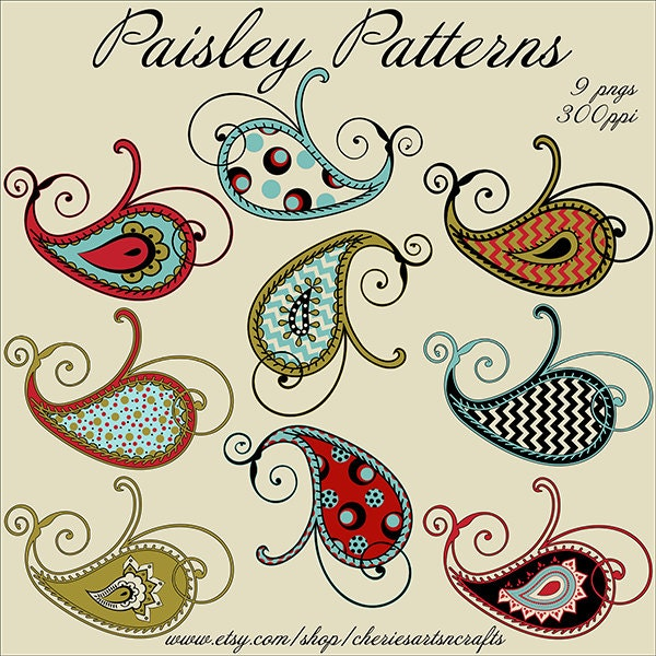 Clip Art Paisley Clip Art paisley clipart etsy patterns 9 png files graphics clip art set beautiful kit instant download kits