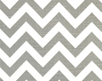 Premier Prints Zig Zag Ash Gray White Slub Chevron Stripe Home Decorating Fabric BTY