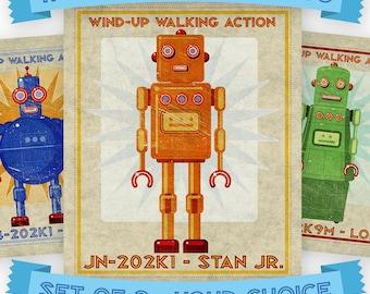 "Retro Robot Art Prints- 11"" x 14""- Set of 3 Robot Prints- Land of Nod Retrobot Series- Robot Wall Art for Kids Room- Sci Fi Art- Kid Bedroom"