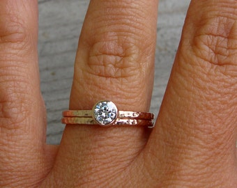 Moissanite Engagement Ring and Wedding Band Set, Recycled 14k Rose Gold, Delicate, Narrow, Stackable, Inexpensive, Made to Order