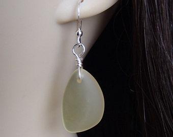 Sea Glass Earrings. Beach Glass Earrings. Yellow Sea Glass. Yellow Earrings. Cultured Sea Glass