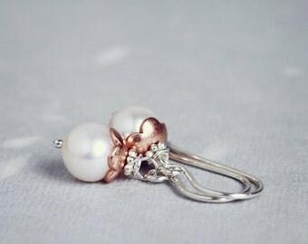 Bibelot Earrings - white PEARL rose gold sterling silver drops