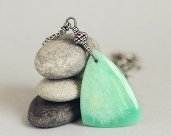 Mint green CHRYSOPRASE statement necklace, oxidised sterling silver - Ferngully