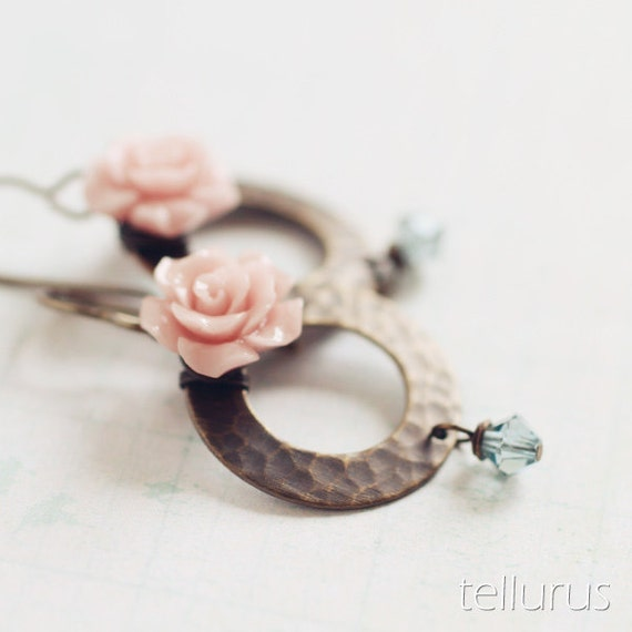 Damascus Hoops - sweet pink roses on textured antiqued brass hoops, wire wrapped earrings
