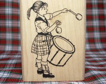 Scottish Lass Drummer Girl Rubber Stamp Pipe Band Scotland #348