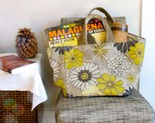 Yellow Floral Tote Bag / Medium Shopping Bag / Lined Autumn Tote