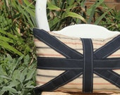 stripe, navy union jack lumbar, kidney pillow