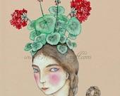 """Geranium girl art print, """"The Geranium Cap"""""""