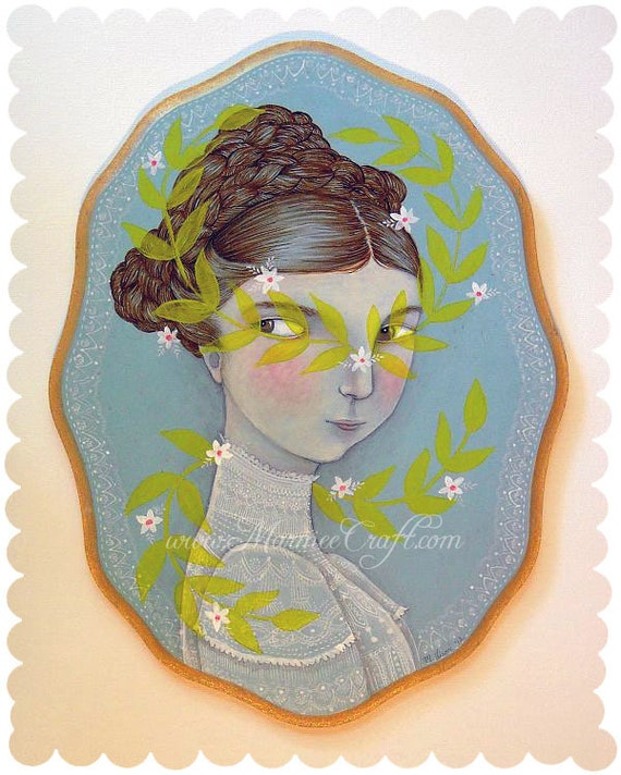"""Original Edwardian fern girl painting, """"In Her Springly Guise"""""""