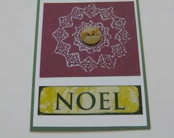 Handmade Card Noel Christmas Holiday Green and Burgundy