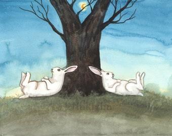 Archival Fine Art Animal Print - Moonrise - Nursery or Children's room Art