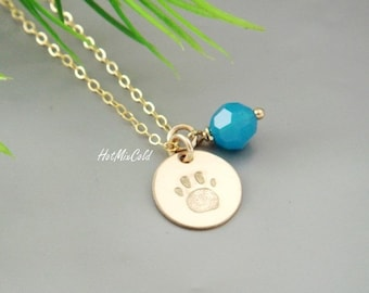 Paw Necklace, Print Paw Charm Birthstone Necklace, Hand- stamp Dog Paw Jewelry, Gifts for Pet Lover, Custom Birthstone or Pearl Color.