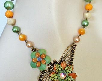 Neo Victorian Enamel Flower Butterfly Necklace - Light Orange, Sage Green - JaelDesigns