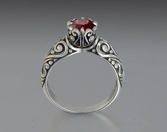 BEATRICE 14K gold engagement ring with 1.33ct Ruby