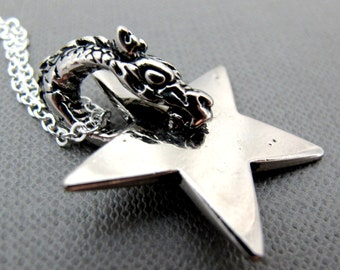 """Crouching Silver Dragon Eating Star Necklace // Silver Dragon Spin Star Charm // 17"""" Silver Chain // Gongfu inspired // One Piece"""