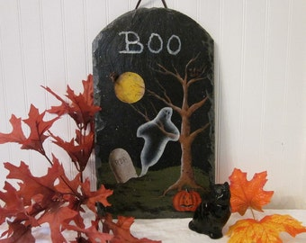BOO Painting E-Pattern. Halloween Ghost, Graveyard, Full Moon, Jack-O-Lantern. Spooky DIY Craft