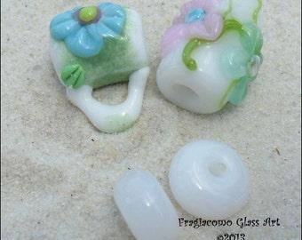 Lampwork Bead Bail Set, Flowers White Blue Purple Green, Artisan Handmade SRA LETEAM Glassymom