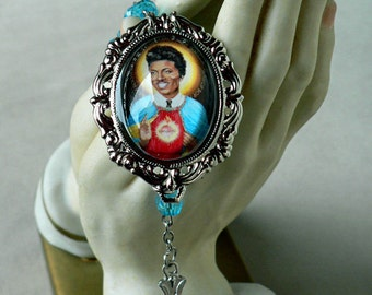 Saint Little Richard Rosary Aqua Beads