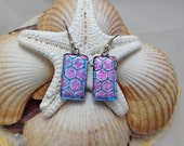 Purple, Blue, and Pink Honeycomb - Dichroic Fused Glass Jewelry - Dangle Earrings - Surgical Steel Findings - Nickle Free - Hypoallergenic