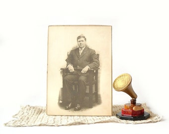 Vintage Photograph Cabinet Card, Man Sitting in Mission Style Chair, Sepia Tone Photo
