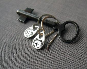 Silver Earrings, Dainty Earrings, Hand Stamped, Everyday Earrings, Minimalist Earrings, Sterling Silver, Drop Earrings, Small Earrings